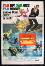 "1970 ""On Her Majesty's Secret Service"" Movie Poster (one-sheet) High grade!"