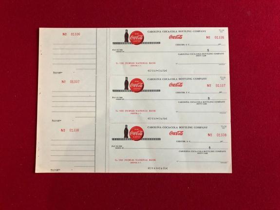 "1970's, Coca-Cola, ""Un-Used"" Bottling Company Sheet of Checks (3) Scarce"