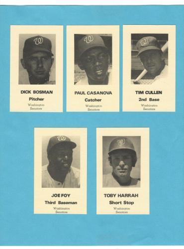 1971 Washington Senators Traffic Safety Set of 10 Baseball Cards