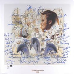 Miami Dolphins 1972 Undefeated Autographed 35th Anniversary Lithograph