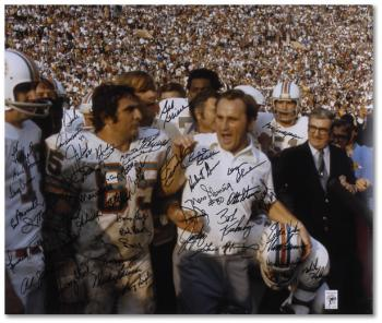 "Miami Dolphins 1972 Autographed 20"" x 24"" Shula Walking Photograph"