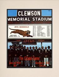 1973 Clemson Tigers vs Citadel Bulldogs 10 1/2 x 14 Matted Historic Football Poster