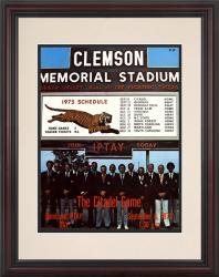 1973 Clemson Tigers vs Citadel Bulldogs 8.5'' x 11'' Framed Historic Football Poster