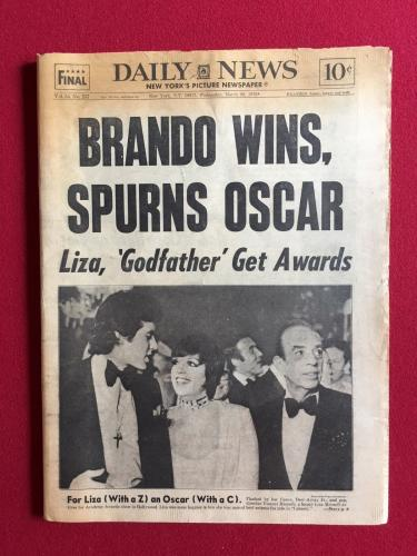 "1973, Marlon Brando, ""The Godfather"" Daily News (Scarce)"