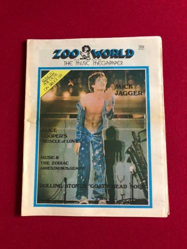 "1973, Mick Jagger (Rolling Stones) , ""ZOO World""  Newspaper (Vintage / Scarce)"