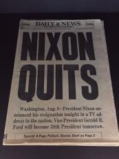 1974 Nixon Quits Vintage Newspaper