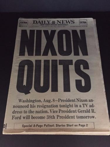 1974 Nixon Quits Vintage Newspaper