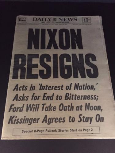 1974 Nixon Resigns Vintage Newspaper