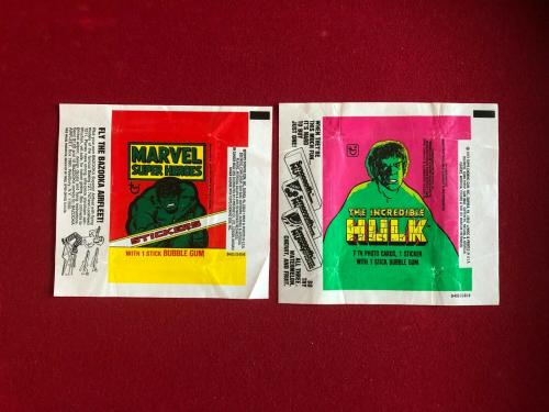 1976 / 79, Incredible HULK (MARVEL) TOPPS Trading Card Wrappers (Vintage)