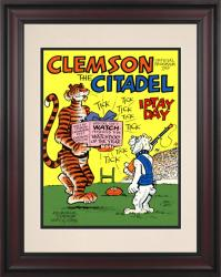 1976 Clemson Tigers vs Citadel Bulldogs 10 1/2 x 14 Framed Historic Football Poster - Mounted Memories