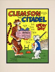 1976 Clemson Tigers vs Citadel Bulldogs 10 1/2 x 14 Matted Historic Football Poster