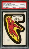 1976 Marvel Super Heroes Stickers The Human Torch Pop 5 Psa 10 N2558396-456