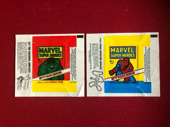 1976, SPIDER-MAN / HULK (MARVEL) TOPPS Trading Card Wrappers (Vintage)