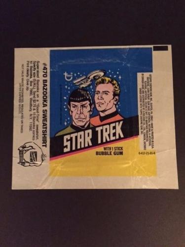 """1976 Star Trek """"Topps"""" Card Wrapper (Mr. Spock / Capt. Kirk)"""