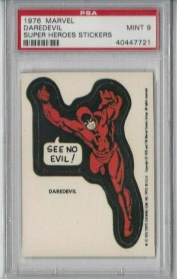 1976 Topps Marvel Super Heroes Stickers Card - Daredevil Psa 9 Mint