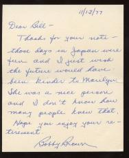 1977 Bobby Brown Yankees Handwritten Signed Letter Marilyn Monroe Content