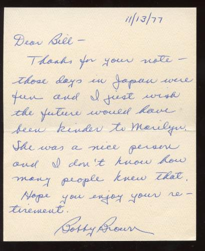 1977 Bobby Brown Yankees Handwritten Signed Letter Marilyn Monroe Content