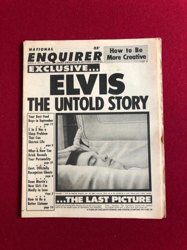 """1977, Elvis Presley, """"National Enquirer"""" (Death Photo) Scarce"""