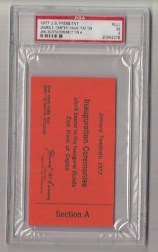 1977 Jimmy Carter Inauguration Stands Section A Full Ticket/Pass PSA 20942376