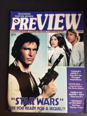 """1977 Star Wars, """"Pre View"""" Magazine - Harrison Ford, Carrie Fisher"""