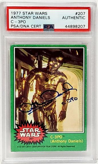 "1977 TOPPS ANTHONY DANIELS Signed ""C3-PO"" Card #207 SLABBED PSA/DNA #44898207"