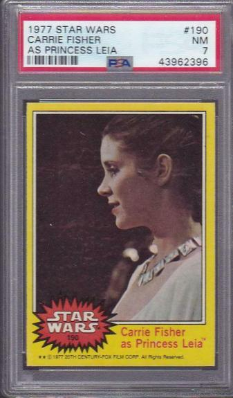 1977 Topps Star Wars Card Carrie Fisher Princess Leia #190 PSA 7