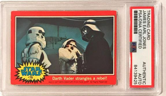 1977 Topps Star Wars James Earl Jones Darth Vader Signed Trading Card 75 PSA/DNA
