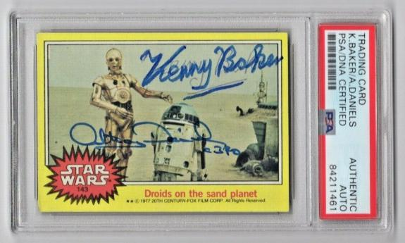 1977 Topps Star Wars Kenny Baker & Anthony Daniels Signed Auto Card #143 PSA/DNA
