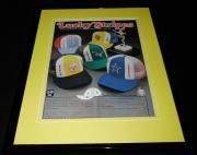 1979 AJD NFL Lucky Stripes Caps Hats Framed 11x14 ORIGINAL Advertisement