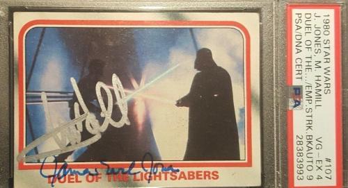 1980 Mark Hamill James Earl Jones Topps Star Wars Signed Autograph PSA 4 AUTO 9