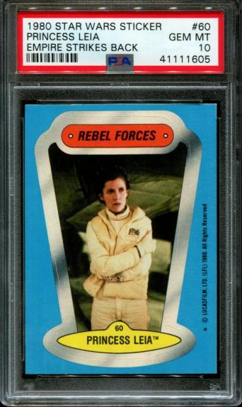 1980 Star Wars Empire Strikes Back Sticker #60 Princess Pop4 Psa 10 N2610280-605