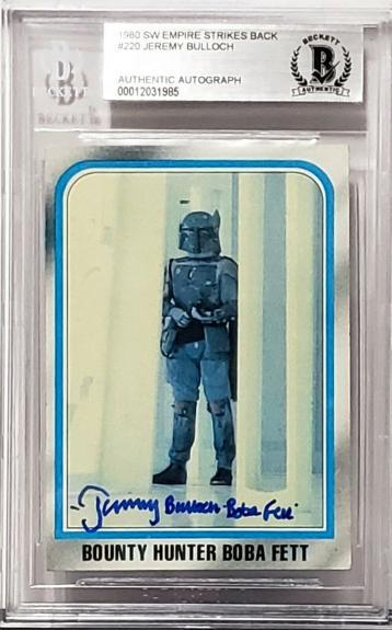 """1980 TOPPS Star Wars JEREMY BULLOCH Signed """"BOBA FETT"""" Card Beckett BAS SLABBED"""