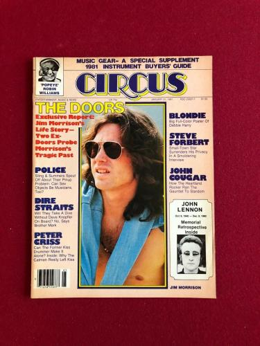 "1981, Jim Morrison (The Doors), ""CIRCUS"" Magazine (No Label) Scarce"