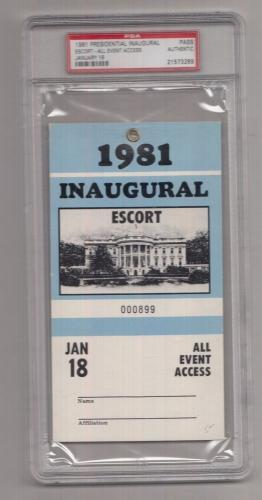 1981 Ronald Reagan Inaugural Escort All Event Access Pass PSA 21573269