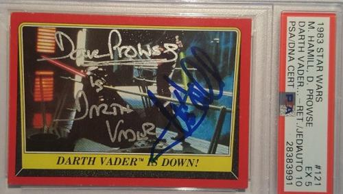 1983 Mark Hamill Dave Prowse Star Wars Topps ROTJ Signed Autograph PSA 5 AUTO 10
