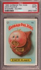 1985 GARBAGE PAIL KIDS STICKERS-GLOSSY #75b ZACH PLAQUE PSA 9 N2374287-599