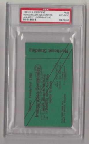 1985 Ronald Reagan Inauguration Northeast SRO Ticket/Pass PSA 21573287