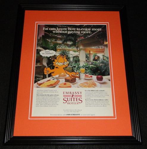 1987 Embassy Suites Garfield 11x14 Framed ORIGINAL Vintage Advertisement