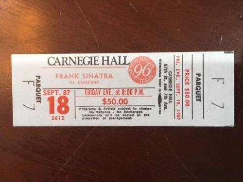 "1987, Frank Sinatra, ""Un-Used"" Concert Ticket (Carnegie Hall / NY), Scarce"