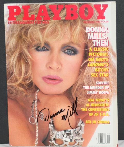 1989 Donna Mills, Knots Landing, Signed Playboy Magazine, JSA Authenticated, NM