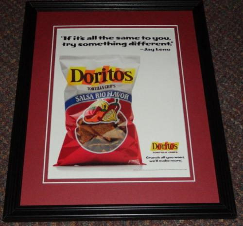 1989 Doritos Salsa Rio Jay Leno Framed 11x14 ORIGINAL Vintage Advertisement
