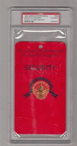 1989 George H.W. Bush American Bicentennial Inaugural Security Pass PSA 21573271