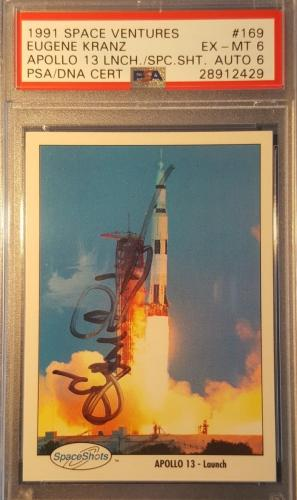 1991 Eugene Kranz Apollo 11 13 Space Shots Ventures Signed PSA EX MINT AUTO NASA