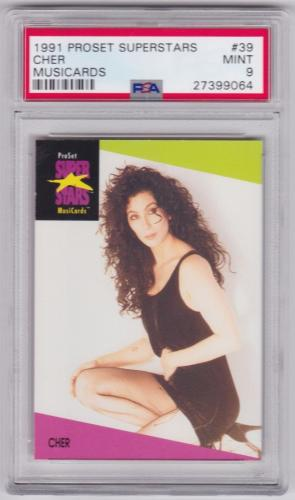 1991 Proset Superstars Cher Musicards Card 39 Psa 9 Mint Condition Well Centered
