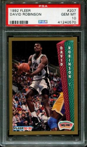 1992 Fleer #207 David Robinson Spurs Hof Pop 4 Psa 10 K2598848-570