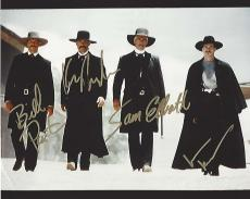 "1993 Movie ""TOMBSTONE"" Signed by KURT RUSSELL as WYATT EARP, VAL KILMER as DOC HOLLIDAY, SAM ELLIOTT as VIRGIL EARP, and BILL PAXTON as MORGAN EARP (small crease bottom left corner) 10x8 Color Photo"