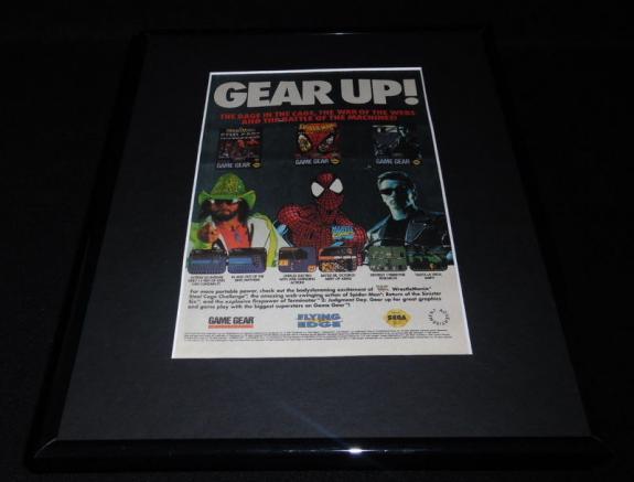 1993 Spiderman Wrestlemania T2 Sega Framed 11x14 ORIGINAL Advertisement