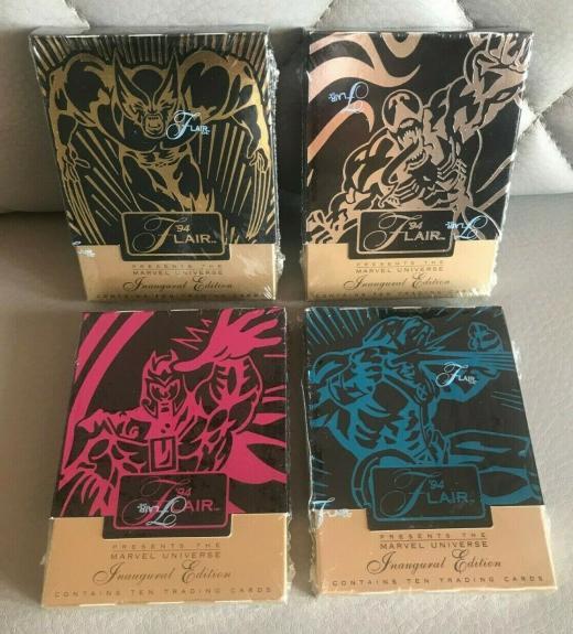 1994 Flair Marvel Inaugural Edition Trading Cards Sealed Packs 4 Lot Venom L@@k
