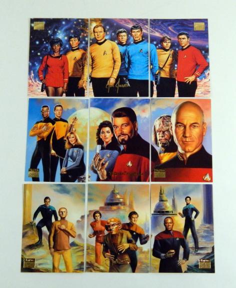 1994 Skybox Star Trek Master Series Crew Triptychs Chase Set (F1-F9) Near Mint