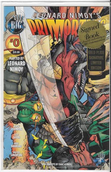1996 Tekno Lost Primortals Comic Book #0 Leonard Nimoy Gold Signature Cover Le